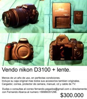 Vendo nikon d3100 + lente + accesorios