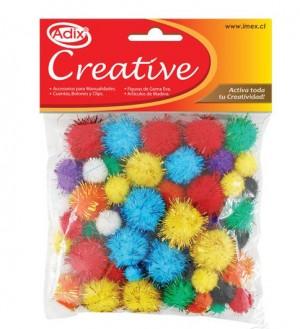 Pompón con glitter tamaños surtidos de adix creative