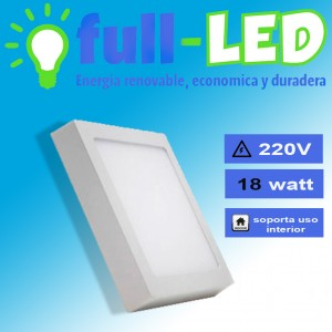Sobrepuesto cuadrado full-led /18 watt/ envios a todo chile