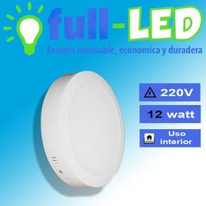 Sobrepuestos full-led  /12 watt/redondo/luz fría envios a todo chile