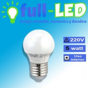 Ampolleta  full-led /5 watt/220 volt/e 27/plastico/envios a todo chile