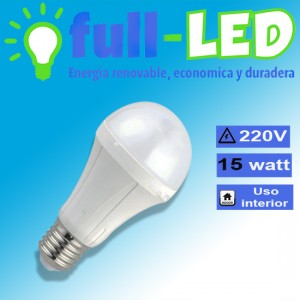 Ampolleta full-led/ 15 watt/ 220 volt/ e27 /empavonada