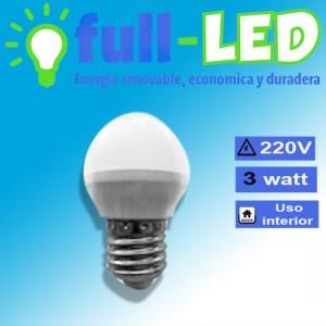 Ampolleta led 3 watt/220 volt/ e27/empavonada/ envios a todo chile
