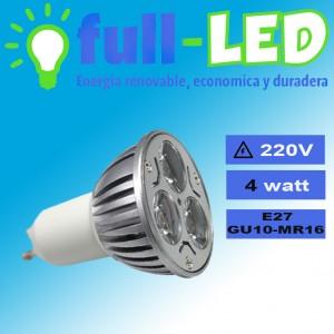 dicroico full-led /4 watt / gu10/luz fria o calida/envios a todo chile