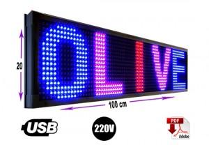 Letrero programable 20 x 100 cm rgb o multicolor/gran avda. 8051