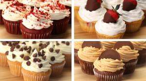 cupcakes o pastelillos decorativos y muffins de chocolates.