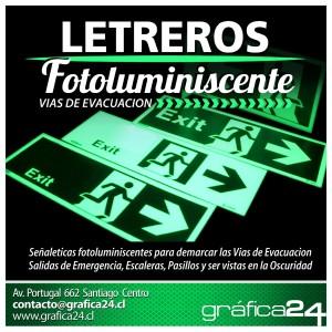 Señalizacion fotoluminiscente, letreros via de evacuacion, emergencia