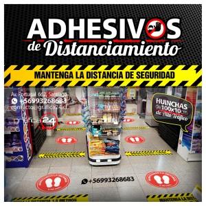 huinchas adhesivas de alto trafico para distanciamiento de personas en locales comerciales, clinicas