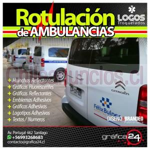 rotulación gráfica autoadhesiva de ambulancias y carros de rescate