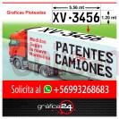 patentes adhesivas ploteadas reglamentarias para puertas de camiones y techos de ramplas